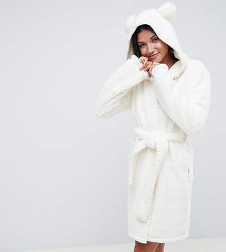 Asos Tall DESIGN Tall pom pom ear super soft robe