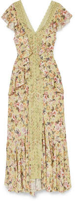 Charo Ruiz - Susan Crocheted Lace-paneled Floral-print Crepe De Chine Maxi Dress - Sand