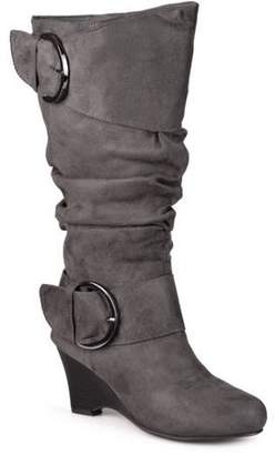 Brinley Co. Women's Wide Calf Buckle Slouch Wedge Knee-High Boot