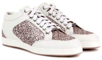 Jimmy Choo Miami leather and glitter sneakers