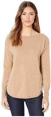Elliott Lauren Cashmere Bateau Neck Sweater with Shirttail Hem