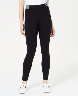 Bar III Metallic-Stripe Varsity Leggings