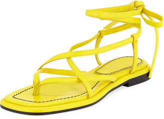 Proenza Schouler Flat Leather Lace-Up Sandals