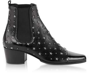 Balmain Black Studded Patent Leather Arthemisia Etoiles Boots