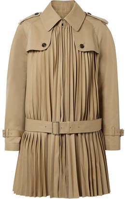 Junya Watanabe Pleated Cotton-blend Twill Coat - Sand