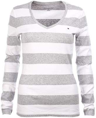 Tommy Hilfiger Women's Wide Stripes Long Sleeve V-Neck T-Shirt (XL, )
