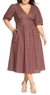City Chic Plus Sunset Stroll Linen & Cotton Blend Button-Front Dress