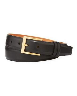 W.KLEINBERG W. Kleinberg Basic Leather Belt with Interchangeable Buckles, Black