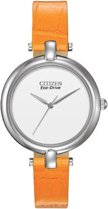 Citizen 34mm Leather Eco-Drive Watch, Orange