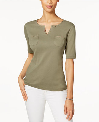 Karen Scott Cotton Studded Top, Only at Macy's $32.50 thestylecure.com