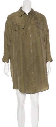 Elizabeth and James Silk Button-Up Shirt Dress