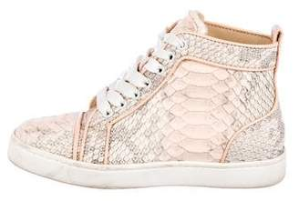 Christian Louboutin Embossed Leather High-Top Sneakers