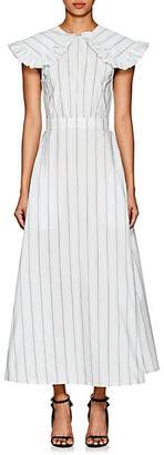 Calvin Klein Women's Striped Silk-Cotton Poplin Prairie Dress - White Vert D Eau Black