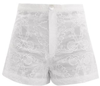 Le Sirenuse Le Sirenuse, Positano - Alma Floral Embroidered Cotton Shorts - Womens - White