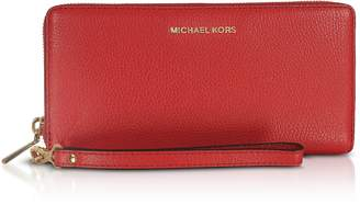 Michael Kors Mercer Large Bright Red Pebble Leather Continental Wallet