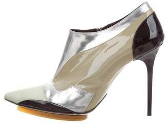 Balenciaga Pointed-Toe Patent Leather Booties