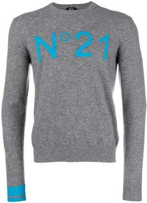 No.21 intarsia logo sweater