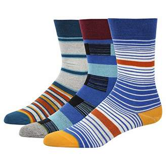 Feetalk Men's and Women's 3 Pack Combed Cotton Blue Thin Striped Pattern Casual Dress Socks for Unisex()