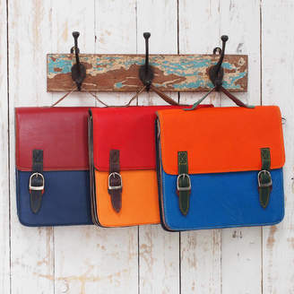 Paper High Recycled Colour Block Two Strap Leather Satchel