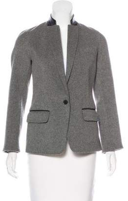 Vince Leather-Accented Wool-Blend Blazer