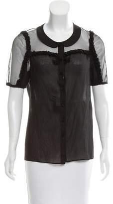Saint Laurent Short Sleeve Ruffle-Trimmed Top w/ Tags