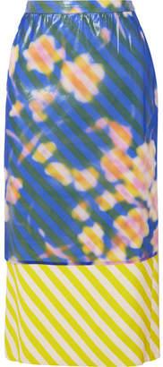 Dries Van Noten Layered Floral-print Crinkled-organza And Striped Satin Midi Skirt - Blue