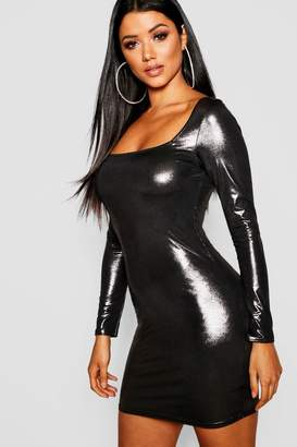 boohoo Metallic Long Sleeve Bodycon
