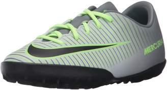 Nike Jr Mecurialx Vapor XI Tf Pr Pltnm/Blk Ghst Grn Clr Jd Turf Soccer Shoe 4 Kids US