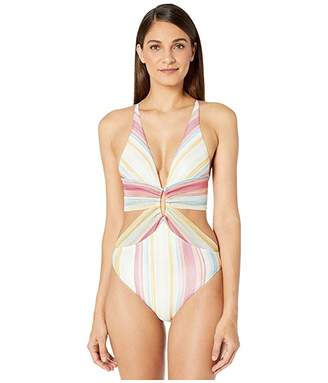 Missoni Mare Striped Knit/Printed Lycra One-Piece Swimsuit