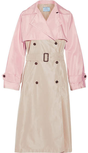 prada Prada - Color-block Silk-faille Trench Coat - Beige