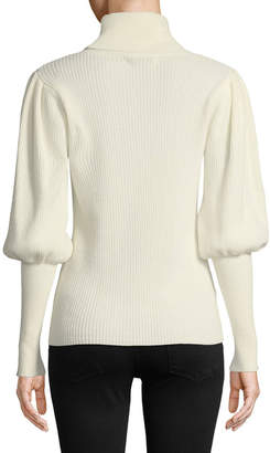 Milly Puff-Sleeve Ribbed Cashmere Turtleneck Pullover Sweater