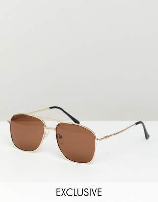 Reclaimed Vintage Inspired Aviator Sunglasses In Gold