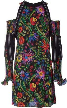 3.1 Phillip Lim Floral Print Plissé Pleat Cold-shoulder Dress