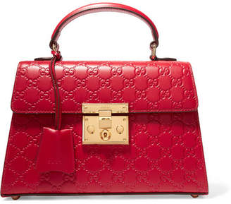Gucci Padlock Small Embossed Leather Tote - Red