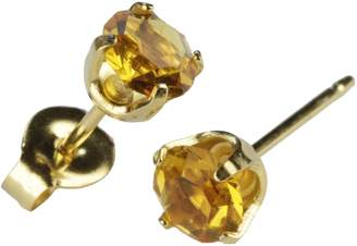 Studex Sensitive Regular Gold Plated Birthstone Stud Earrings 5mm Claw Setting - November / Topaz