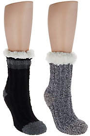 Cuddl Duds Sherpa Lined Cabin Socks Set of 2