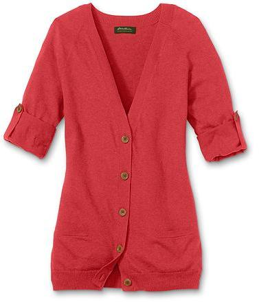 Cotton/Cashmere Rolled-Sleeve Cardigan