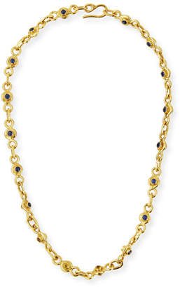 """Jean Mahie 22K Gold Blue & Yellow Sapphire Necklace, 19"""""""