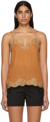 Chloé Brown Crepe de Chine Lace Camisole