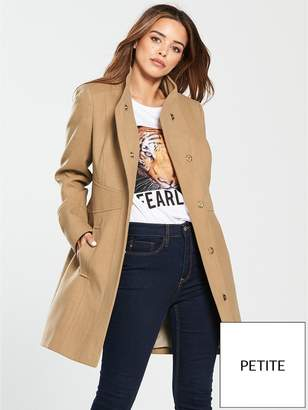 136f1c63cf645 V By Very Petite Funnel Neck Formal Coat - Camel