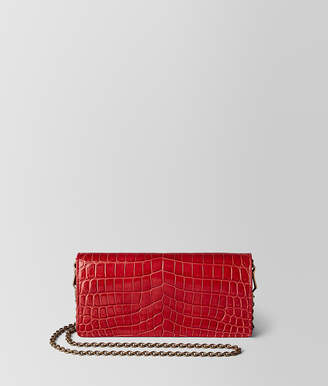 84a9d3fcad33a Bottega Veneta CHINA RED CROCODILE CHAIN WALLET