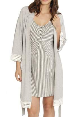 Angel Maternity Nursing/Maternity Dress, Robe & Baby Wrap Set