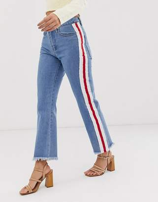 Glamorous raw hem straight leg jeans with tape detail