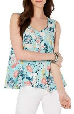 Style&Co. Style & Co. Printed Sleeveless High-Low Swing Top