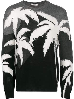 Valentino colour-block palm knit sweater
