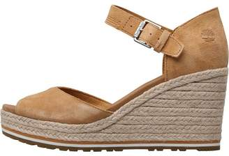 Timberland Womens Nice Coast Ankle Strap Wedge Sandals Mid Beige