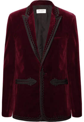 Saint Laurent Burgundy Slim-Fit Passementerie-Trimmed Cotton-Velvet Blazer