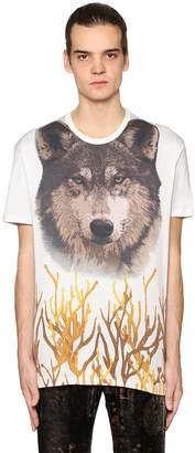 Etro Wolf Printed Cotton Jersey T-Shirt