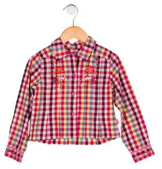 Oilily Girls' Embroidered Button-Up Top