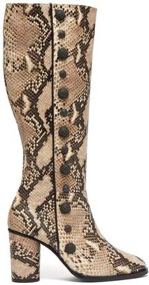 RUE ST. Lana snake-effect leather knee-high boots